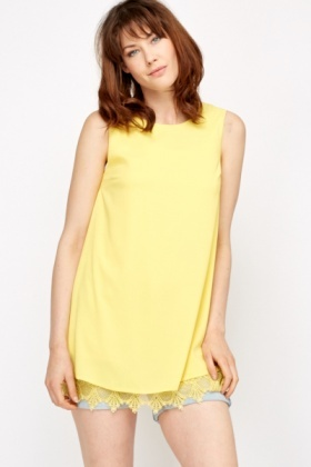 Yellow Longline Crochet Hem Top