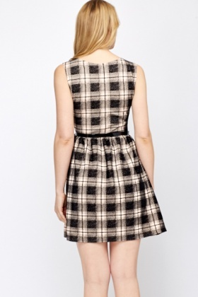 Grid Belted Skater Dress
