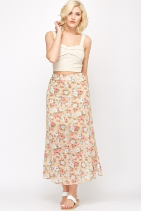 Sheer Layered Split Side Skirt