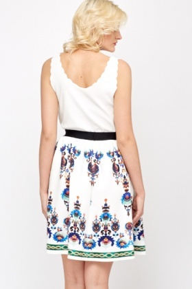 Tapestry Print Scuba Swing Skirt