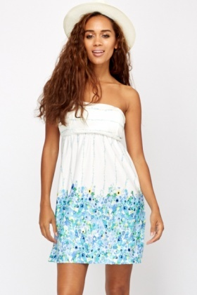 Floral Print Border Bandeau Dress
