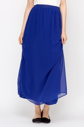 Sheer Overlay Royal Blue Maxi Skirt