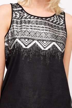 Aztec Print Sheer Back Top