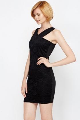 Black lace front panel dress
