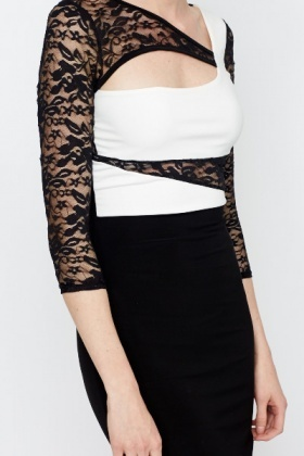 Cut Out Front Lace Panel Bodycon Dress