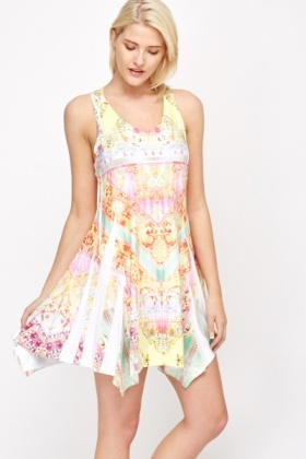 Diamante Tapestry Print Swing Dress