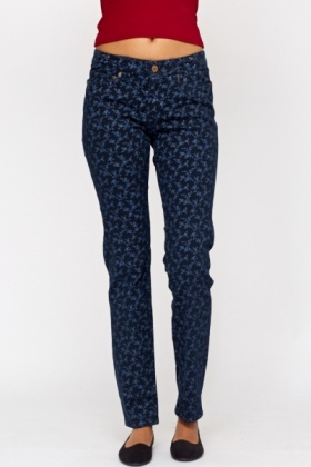 Floral Print Navy Trousers