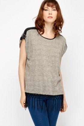 PU Trim Speckled Top