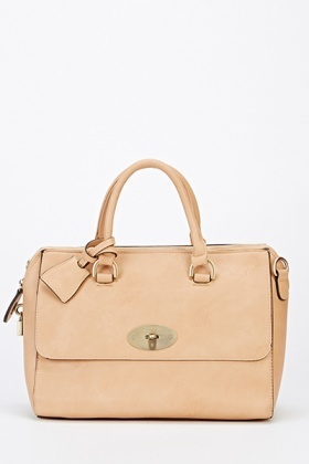 Faux Leather Twist Lock Tote Bag
