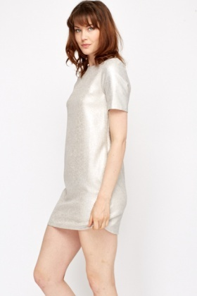 Silver Glitter Shift Dress