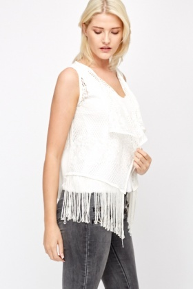 Sleeveless Crochet Sheer Back Kimono