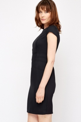 Cap Sleeve Black Office Dress Just