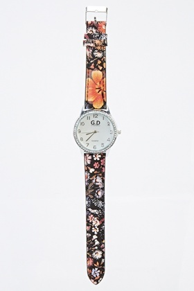 Encrusted Round Dial Watch