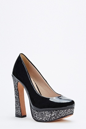 Glitter Trim Block Heel Shoes