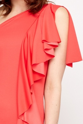 One Shoulder Ruffle Side Party Dress