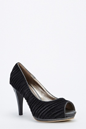 Sateen Ruched Chunky Mid Heels