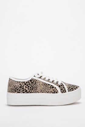 Animal Print Flatform Trainers