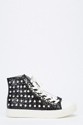 Canvas Studded Zip Up Trainers