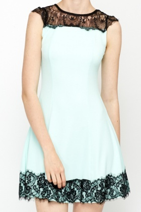 Yoke Lace Trim Skater Dress