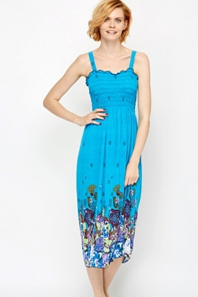 Floral Border Maxi Dress
