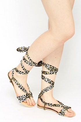 Leopard Tie Up Leg Sandals