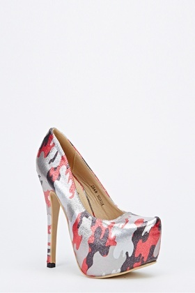 Shimmer Camouflage High Heels