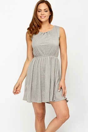 Grey Rose Embossed Dress