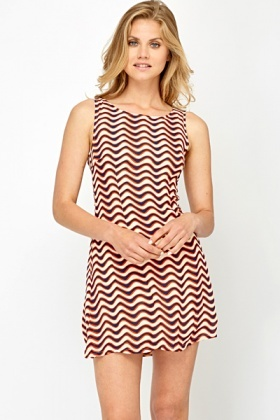 Contrast Wave Print Shift Dress