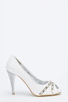 Chain Front Mid Open Toe Heels