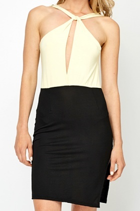 Plunge Back Contrast Party Dress