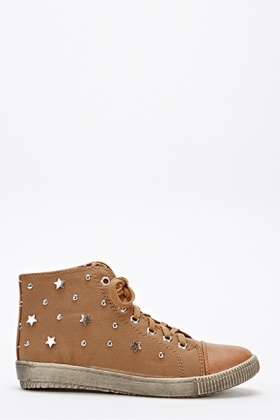 Suedette Star Studded High Top Trainers