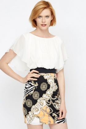 Tapestry Print Contrast Blouson Dress