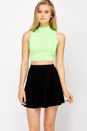 High Neck Neon Crop Top
