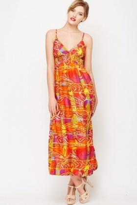 Orange Sun Print Maxi Dress - Just £1