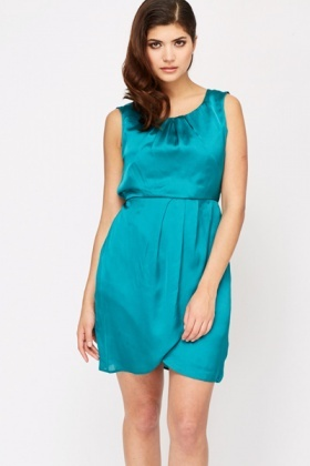 Pleated Neck Overlay Dress