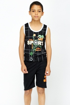 Contrast Sports Top And Shorts Set