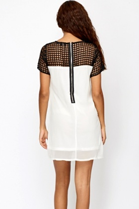 Contrast Mesh Shoulder Tunic Dress