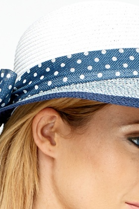 Contrast Trim Polka Dot Hat