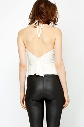 Halterneck Tassel Slit Back Top