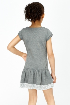 Sequin Trim Pleated Hem