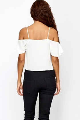 White Cut Out Shoulder Cami Top
