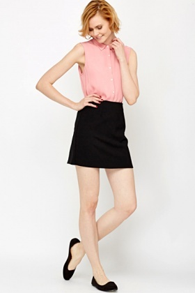 A-Line Black Mini Skirt