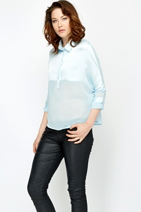 Batwing Sheer Contrast Blouse