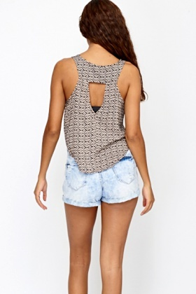 Cut Out Back Patterned Top