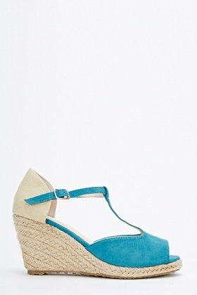 Woven Wedge T-Bar Sandals