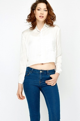 Cropped Silky Feel Blouse