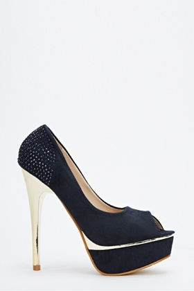 Encrusted Back Contrast High Heels