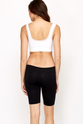 Lace Trim Padded Sports Bra