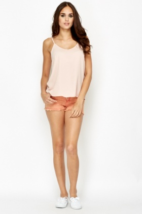 Ripped Hem Orange Shorts
