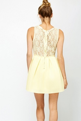 Yellow Lace Bonded Skater Dress